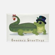 Christmas Alligator Rectangle Magnet