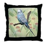 Blue Parakeet or Budgie Throw Pillow