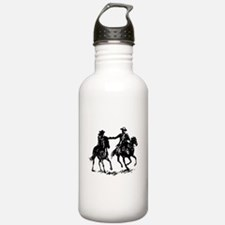 Cowboy and cowgirl riding off Water Bottle