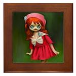 Vintage Red Doll Painting Framed Tile