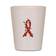 Christmas Lights Ribbon AIDS Shot Glass