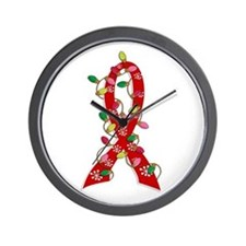 Christmas Lights Ribbon AIDS Wall Clock