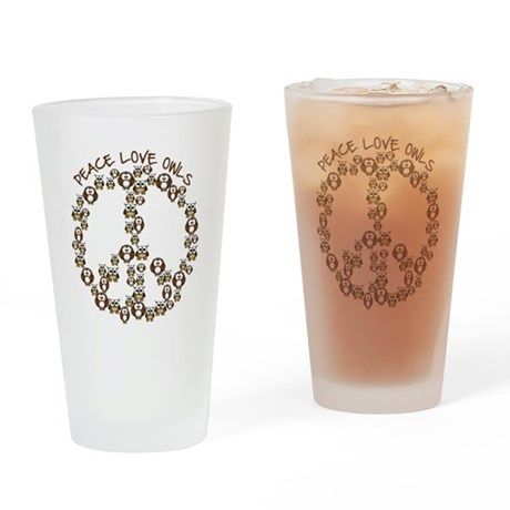 Peace Love Owls Drinking Glass