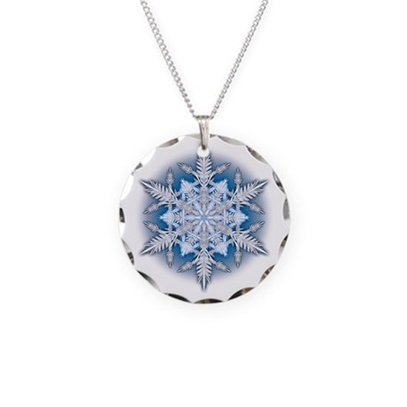 Snowflake 33 Necklace Circle Charm
