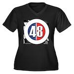 48 Cars Logo Women's Plus Size V-Neck Dark T-Shirt