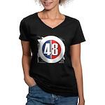 48 Cars Logo Women's V-Neck Dark T-Shirt