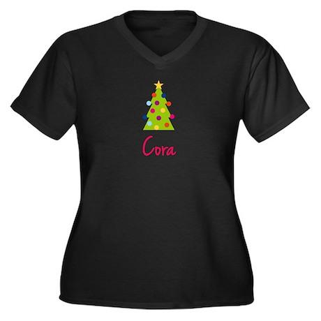 Christmas Tree Cora Women's Plus Size V-Neck Dark