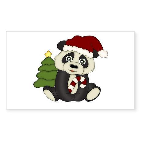 Christmas Panda Sticker (Rectangle)