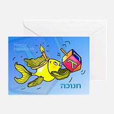 Hanukkah Fish With Hanukkah Greeting Card