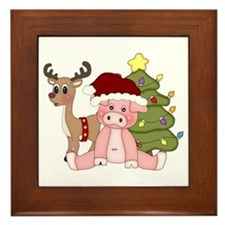 Christmas Pig Framed Tile