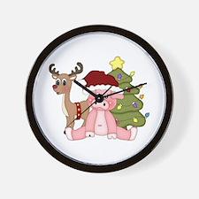 Christmas Pig Wall Clock