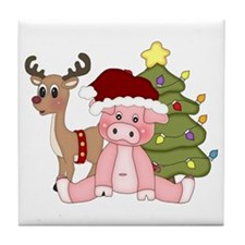 Christmas Pig Tile Coaster