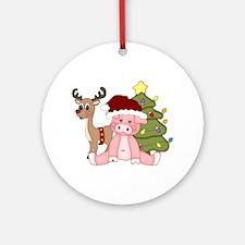 Christmas Pig Ornament (Round)