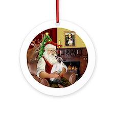 Santa's Siamese cat (ChocPt) - Round Ornament