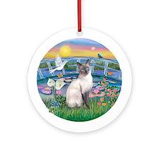 LilyPond(JF)/Siamese cat (BLPt) Ornament (Round)