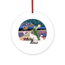 Xmas Magic & Siamese cat (blue) Ornament (Round)