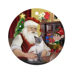 Santa'sSiamese cat (blue) Ornament (Round)