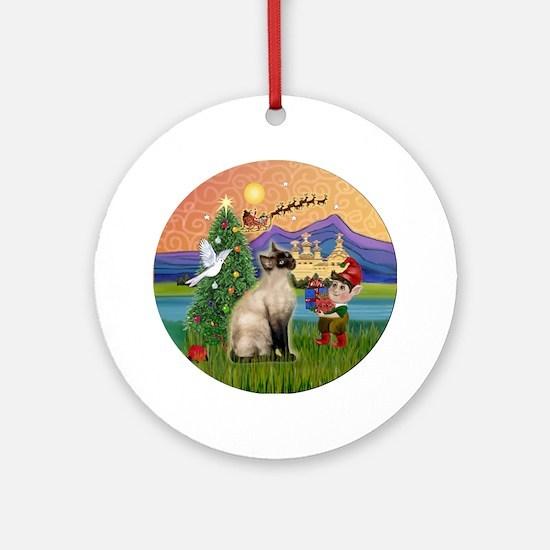 Xmas Fantasy & Siamese cat (Choc) Ornament (Round)