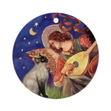 Mandolin Angel & Siamese (CP) Ornament (Round)