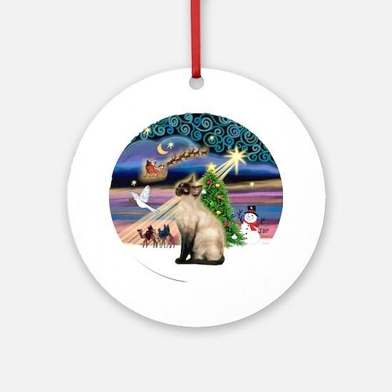 Xmas Magic & Siamese (CP)Ornament (Round)