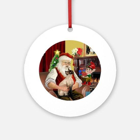 Santa's Siamese (CP) Ornament (Round)