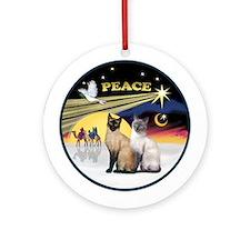 Xmas Dove - Two Siamese Cats Ornament (Round)