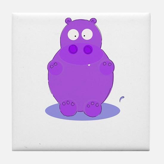 Unique Vintage hippo Tile Coaster