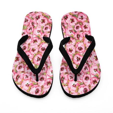 Allover Pink Pansy Flip Flops