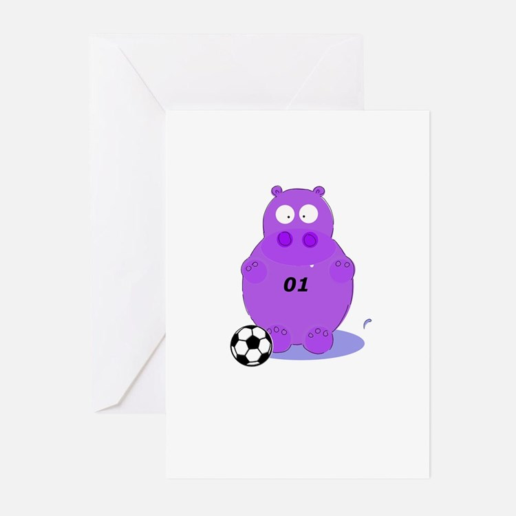 soccer hippo Greeting Cards (Pk of 10)