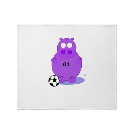 soccer hippo Throw Blanket