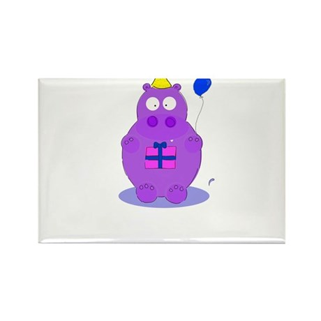 happy birthday hippo Rectangle Magnet (10 pack)