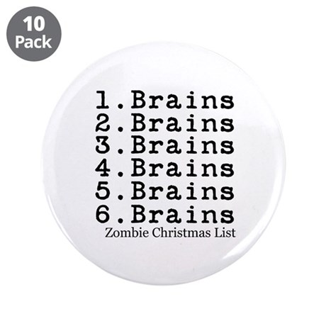 """Zombie Christmas List 3.5"""" Button (10 pack)"""