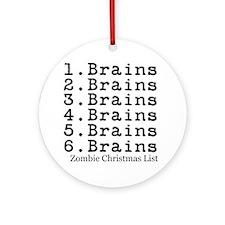 Zombie Christmas List Ornament (Round)