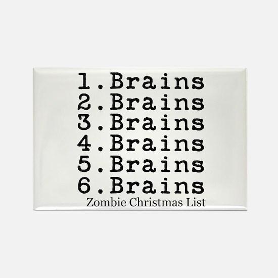 Zombie Christmas List Rectangle Magnet