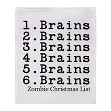 Zombie Christmas List Throw Blanket