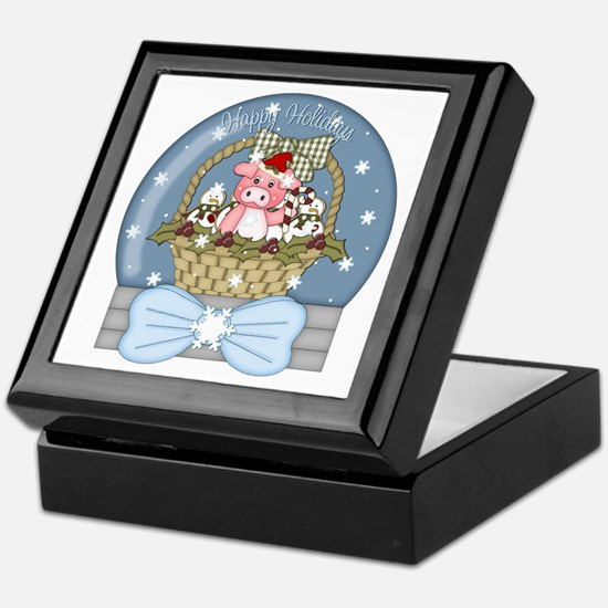 Pig Snow-Globe Holiday Keepsake Box