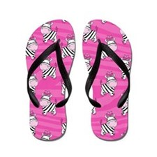Pink Zebra Stripe Flip Flops