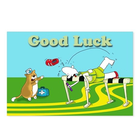 funny hurdle good luck Postcards (Package of 8)