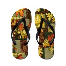 Autumn Patchwork Flip Flops