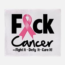 Fuck Breast Cancer Throw Blanket
