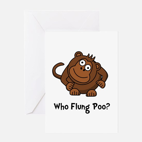Monkey Flung Poo Greeting Card