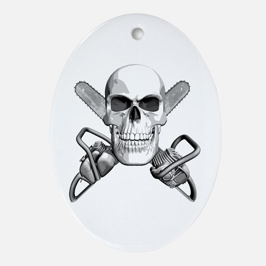 Skull and Chainsaws Ornament (Oval)