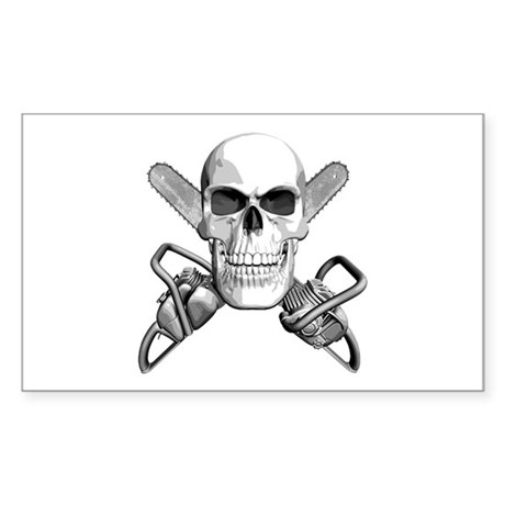 Skull and Chainsaws Sticker (Rectangle)