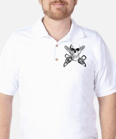 Skull and Chainsaws Golf Shirt