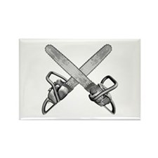Crossed Chainsaws Rectangle Magnet