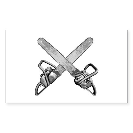 Crossed Chainsaws Sticker (Rectangle)