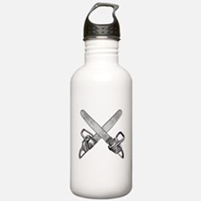 Crossed Chainsaws Water Bottle
