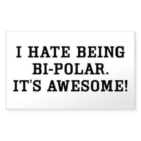 Hate Awesome Bi-Polar Sticker (Rectangle)