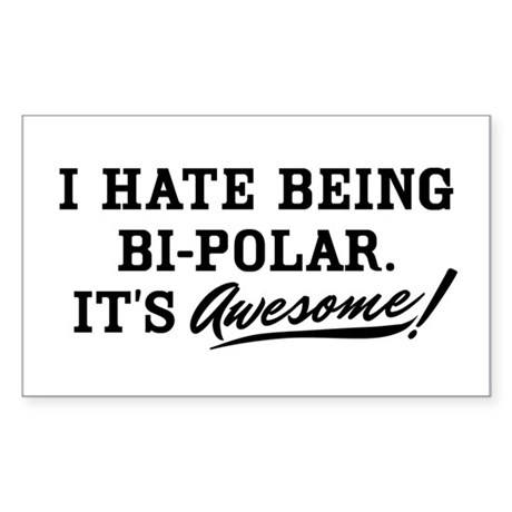 Hate Awesome Bi-Polar Sticker (Rectangle)