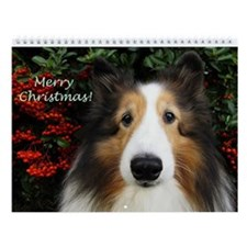 Merry Christmas Sheltie Wall Calendar
